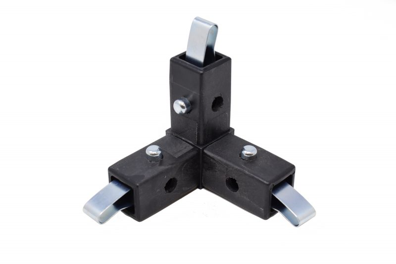 200-308-QR 3-Way Black Corner Connector, Quick Release