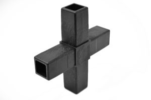 200-312-HF 4-Way Black Cross Connector, Hammer Fit