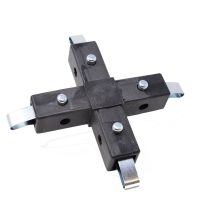 200-312-QR 4-Way Black Cross Connector, Quick-Release